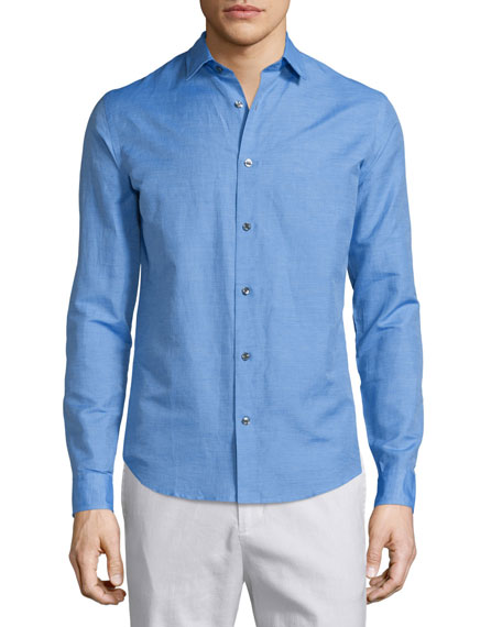 Vince Linen-Blend Long-Sleeve Sport Shirt, French Blue