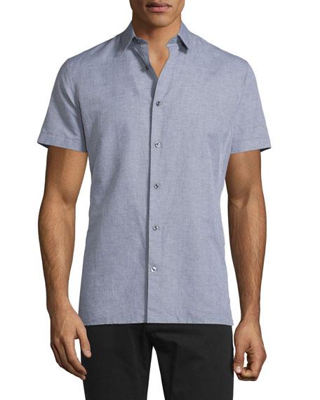 VinceLinen-Blend Short-Sleeve Shirt, Smoke