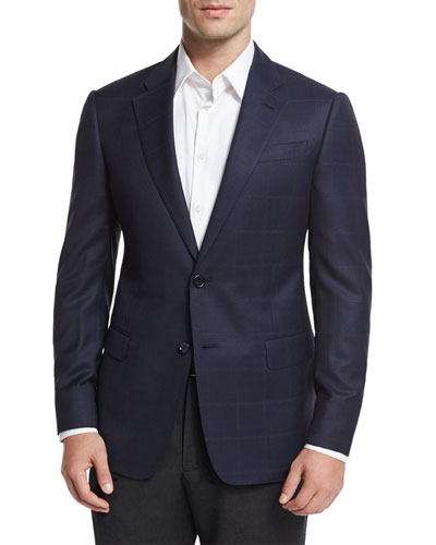 G-Line Windowpane Two-Button Jacket, Navy/Gray
