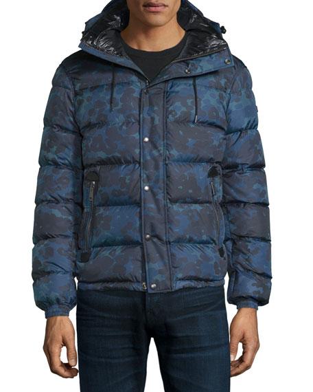Burberry BritMyton Camo-Print Nylon Puffer Jacket, Stone Blue