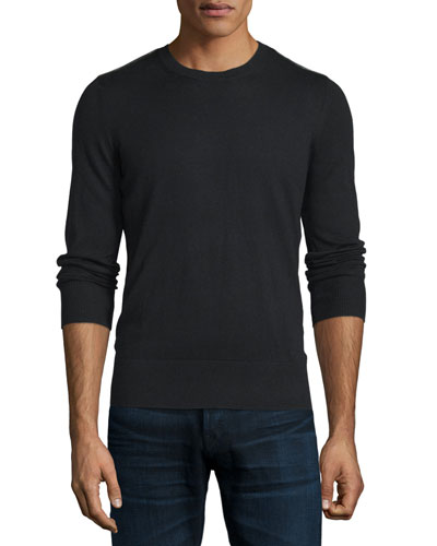 Cashmere Crewneck Sweater with Check Details, Black