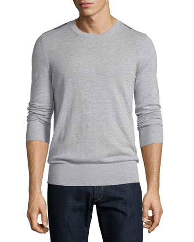 Cashmere-Blend Sweater with Check-Detail, Pale Gray