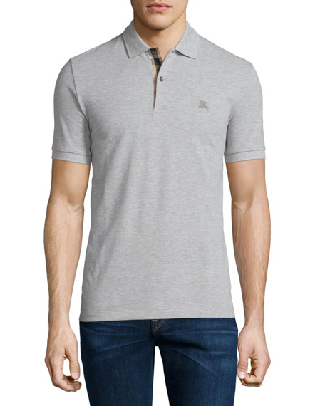 Burberry Short-Sleeve Pique Polo Shirt, Pale Gray