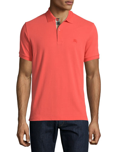 Short-Sleeve Pique Polo Shirt, Orange