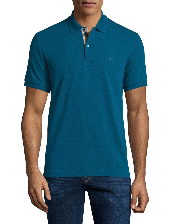 Burberry Short Sleeve Pique Polo Shirt Mineral Blue Neiman Marcus