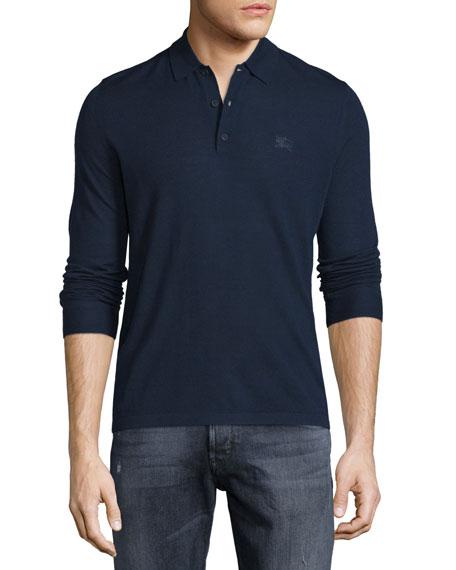 Burberry Brit Launton Long-Sleeve Wool Polo Shirt, Navy