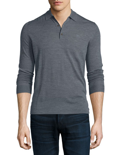 Launton Long-Sleeve Knit Polo Shirt, Mid Gray Melange