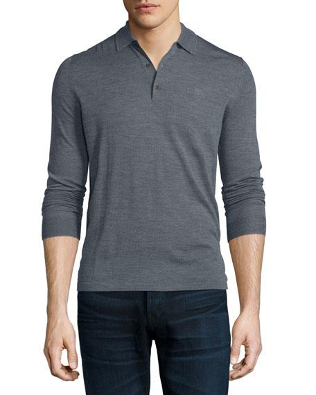 Burberry Brit Launton Long-Sleeve Knit Polo Shirt, Mid