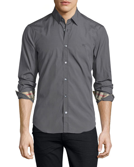 Burberry Brit Cambridge Long-Sleeve Sport Shirt, Stone Gray