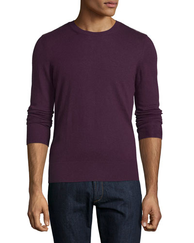 Cashmere-Blend Sweater with Check-Detail, Deep Currant