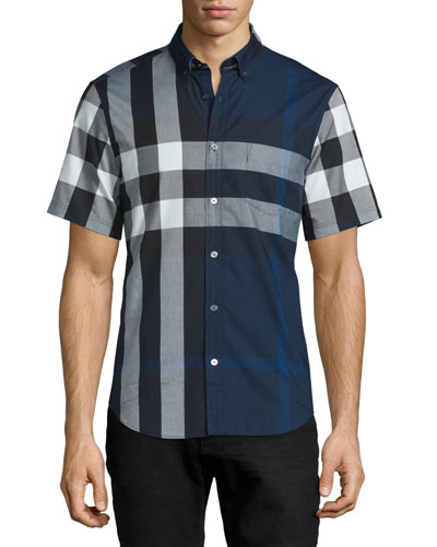Exploded Check Short-Sleeve Shirt, Ink