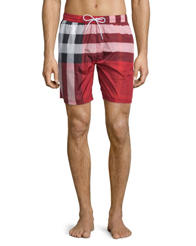 Check-Print Swim Trunks, Red