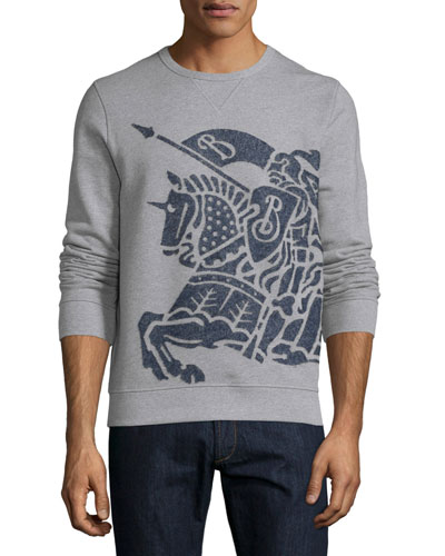 Exploded Equestrian-Knight Sweatshirt, Pale Gray