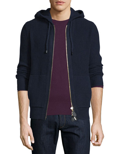 Cashmere-Wool Textured Full-Zip Hoodie, Navy