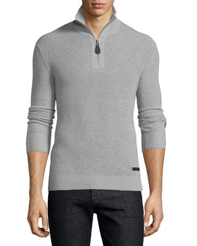 Cashmere-Blend Half-Zip Pullover Sweater, Gray