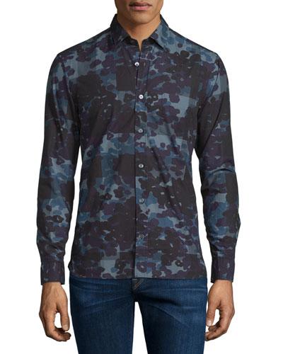 Alden Multi Camo-Print Sport Shirt, Stone Blue