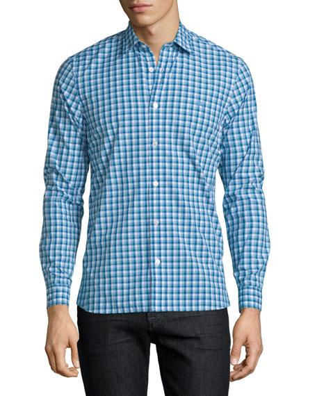 Burberry Garrison Gingham Long-Sleeve Sport Shirt, Light Blue