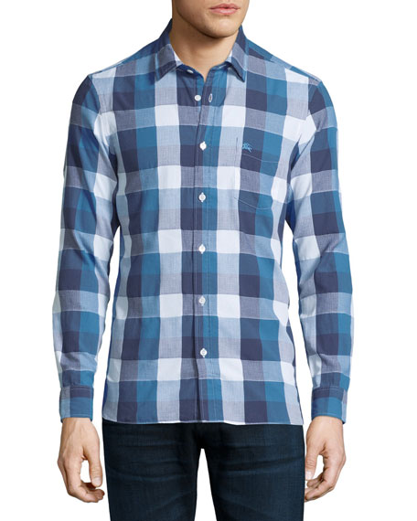 Burberry Brit Julian Buffalo Check Sport Shirt, Blue