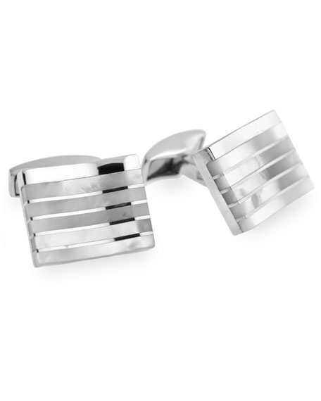 Striped Mother-Of-Pearl Rectangular Cuff Links
