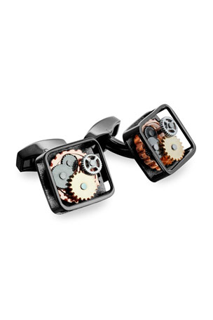 Tateossian Gunmetal Gear Cuff Links, Silvertone