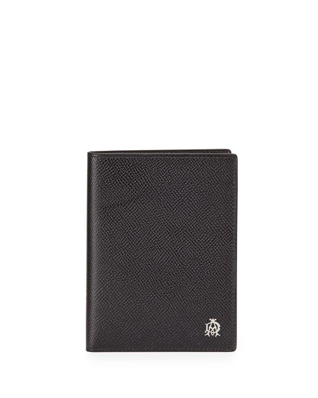 dunhill Bourdon Leather Passport Holder, Black