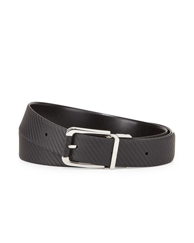 Reversible Chassis Leather Belt, Black
