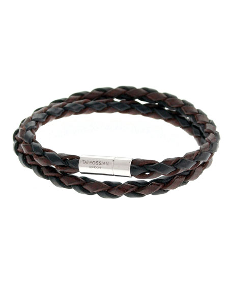 Men's Braided Leather Double-Wrap Bracelet, Brown/Black