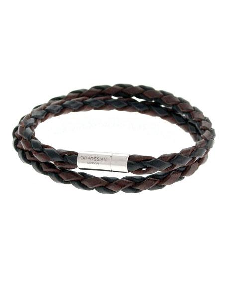 Tateossian Men's Braided Leather Double-Wrap Bracelet, Brown/Black
