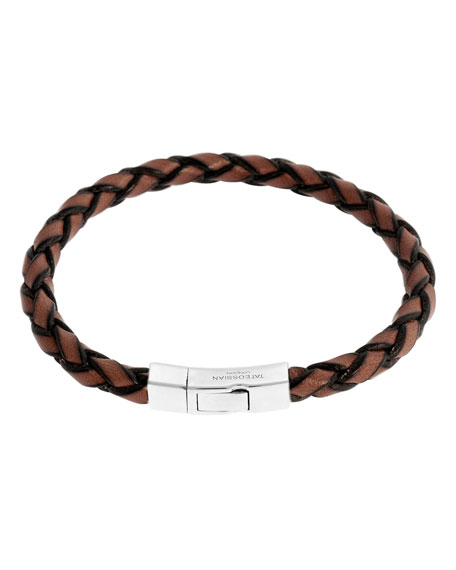 Men's Braided Leather Silver Bracelet, Brown