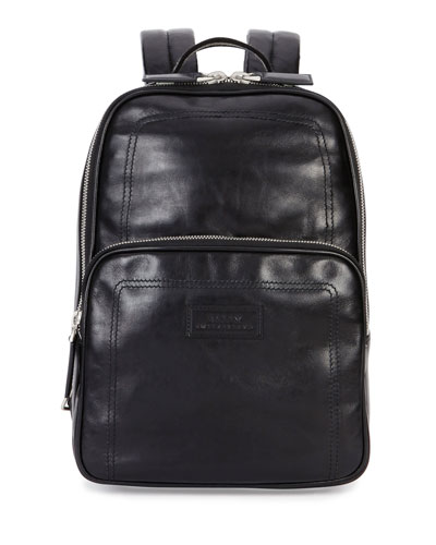 Small Smooth-Leather Backpack, Black