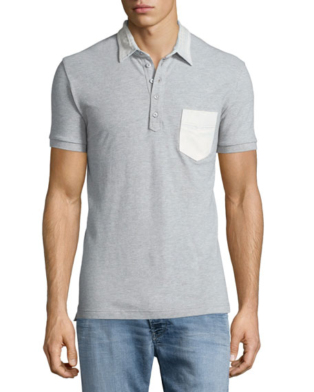 Diesel Bleach-Detail Short-Sleeve Polo Shirt, Gray
