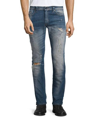 Thavar Distressed Denim Jeans, Denim