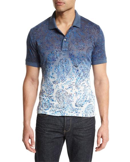 Etro Ombre Paisley-Print Short-Sleeve Polo Shirt, Blue