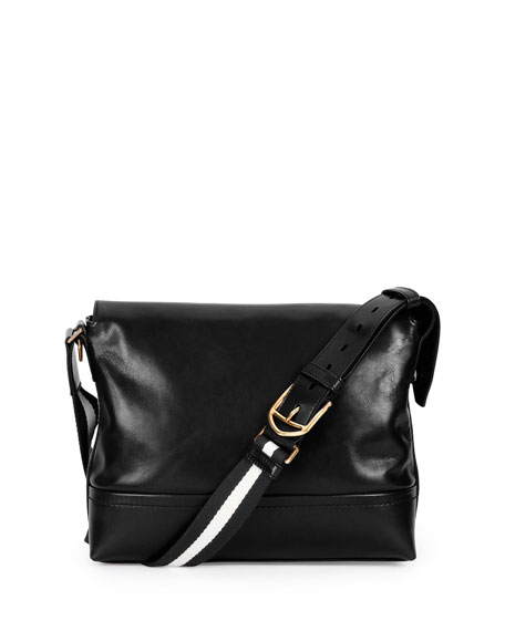 Bally Smooth-Leather Messenger Bag, Black