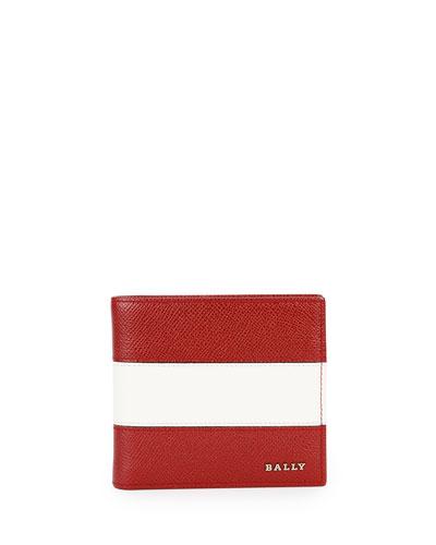 Striped Leather Bi-Fold Wallet, Dark Red