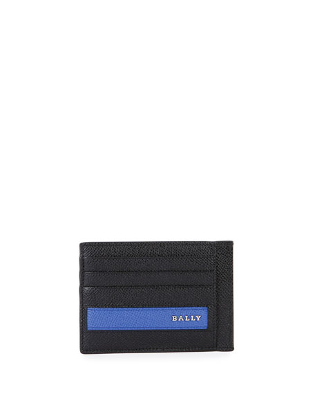 Bally Colorblock Leather Business Card Case, Black/Blue