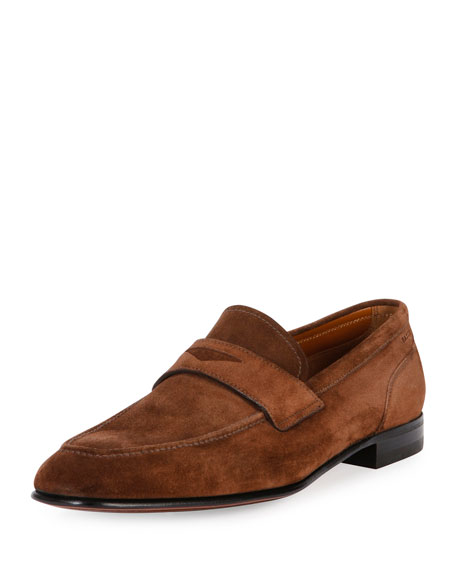 Bally Brent Suede Penny Loafer, Brown