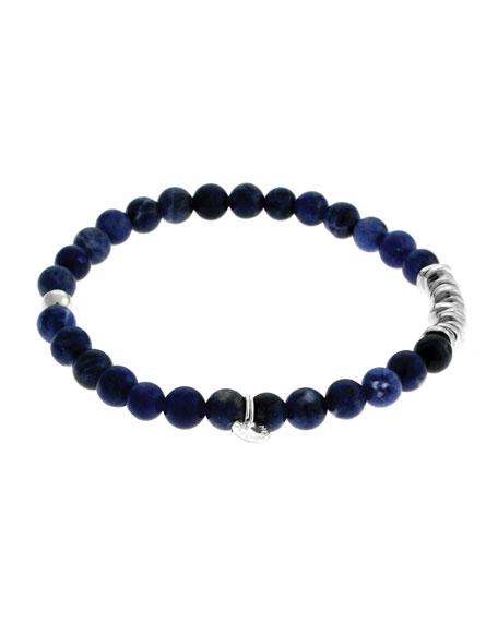 Tateossian Mens Sodalite Bead Bracelet 7A32rBfpeN