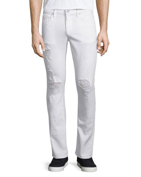 J Brand Jeans Kane Distressed Straight-Leg Jeans, Whitman