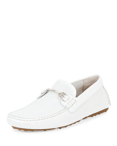 Drintal Perforated Leather Driver, White