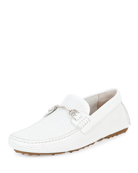 Bally Drintal Perforated Leather Driver, White