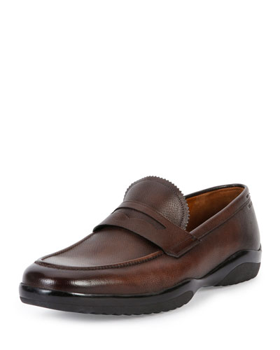 Micson Leather Penny Loafer, Brown
