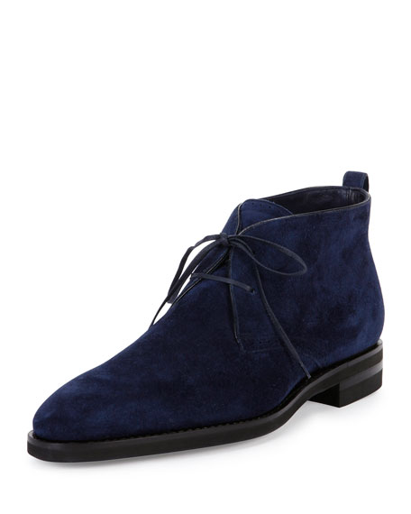 Bally Scarim Suede Lace-Up Boot, Navy