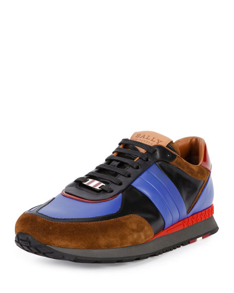 Bally Ascar Multicolored Leather Sneaker, Black