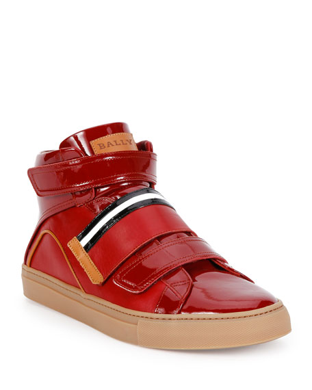 Herick Leather High-Top Sneaker, Red