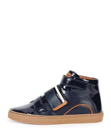 Herick Leather High-Top Sneaker, Navy
