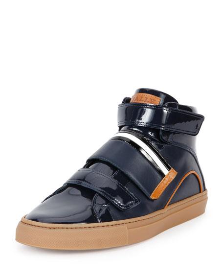 Men's Herick Leather High-Top Sneakers, Navy