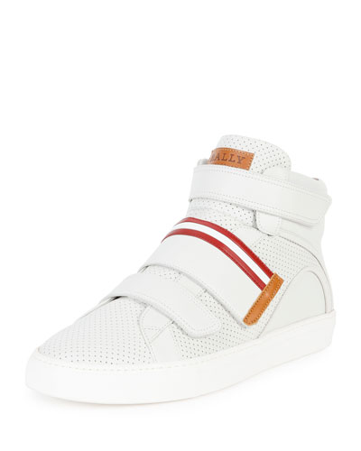 Herick Perforated Leather High-Top Sneaker, White