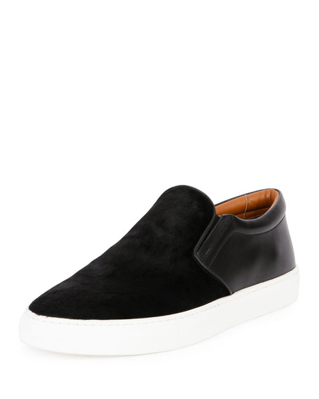 Herms Calfskin Leather Slip-On Sneaker, Black