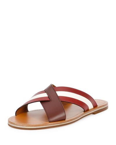 Crisscross Strap Leather Sandal, Brown